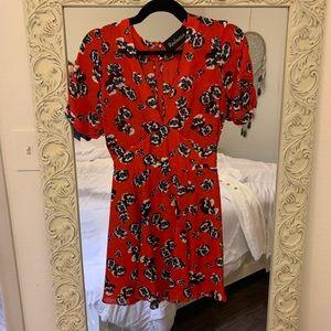 Realisation Ozzie dress red pansy xs